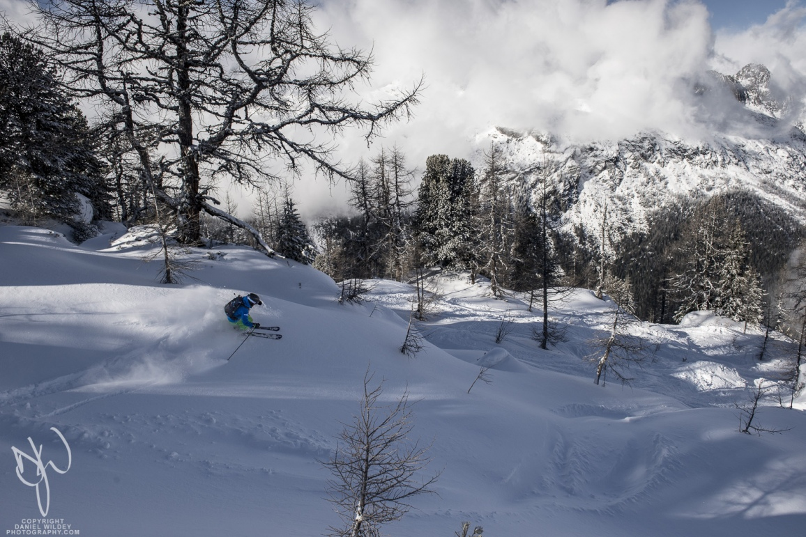 Powder skiing at Les Grands Montets