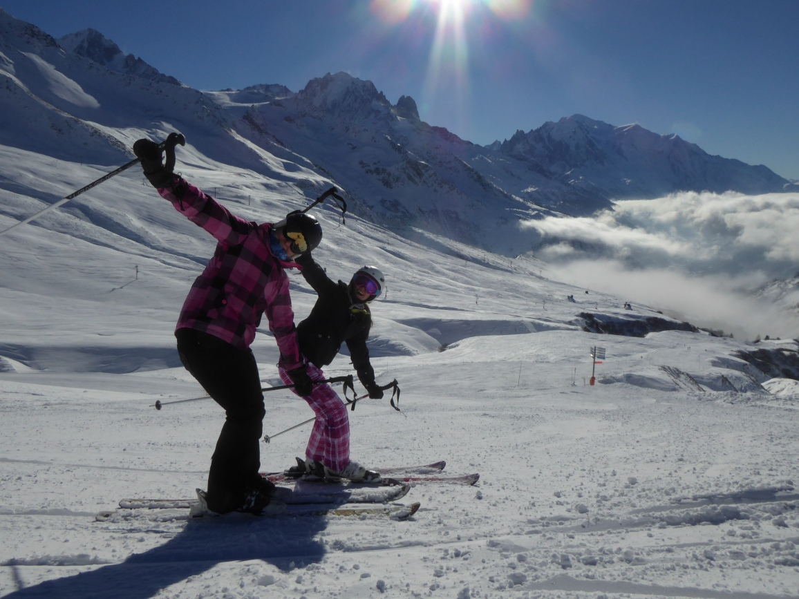 Skiing at Le Tour with Mont Blanc behind